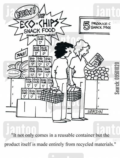 reuse cartoon humor: 'It not only comes in a reusable container but the product itself is made entirely from recycled materials.'