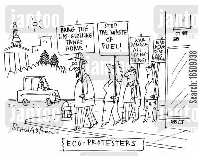gas guzzler cartoon humor: Eco-Protestors.