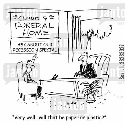 cheaper option cartoon humor: Very well, will that be paper or plastic?