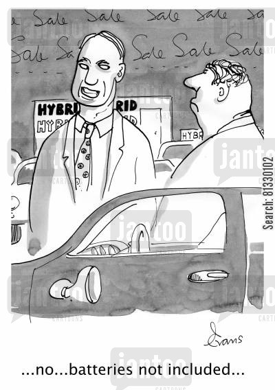 motors cartoon humor: '...no...batteries not included...'
