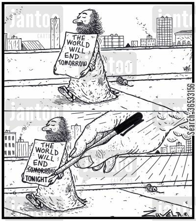 corrections cartoon humor: The world will end tomorrow!