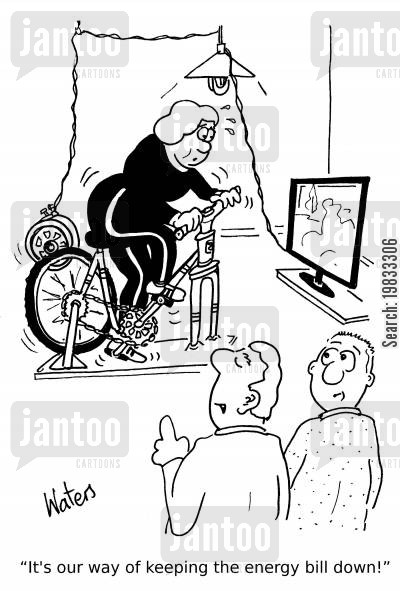exercise bikes cartoon humor: 'It's our way of keeping the energy bill down!'