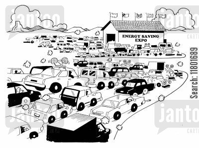 impropriety cartoon humor: Traffic Jam Near Energy Saving Expo