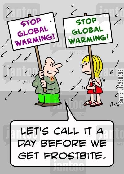 environmentalism cartoon humor: STOP GLOBAL WARMING!, 'Let's call it a day before we get frostbite.'