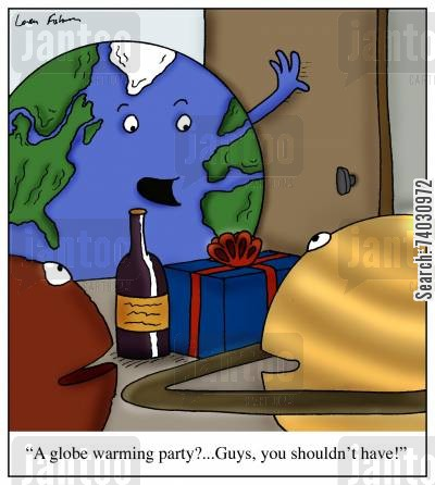 earth day cartoon humor: 'A globe warming party?...Guys, you shouldn't have!'