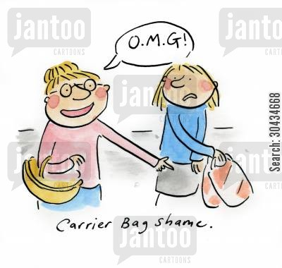 asda cartoon humor: Carrier Bag Shame