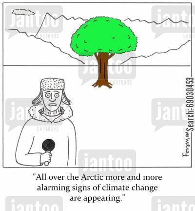 ice cap cartoon humor: 'All over the Arctic more and more alarming signs of climate change are appearing.'