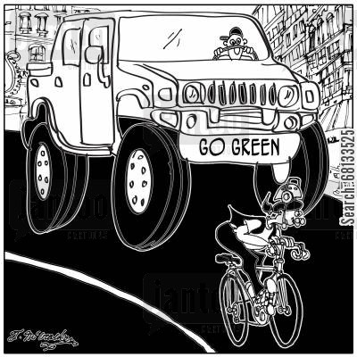 hummer cartoon humor: Go Green