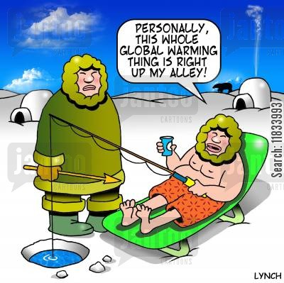 emissions targets cartoon humor: 'Personally this Global Warming thing is right up my alley.'
