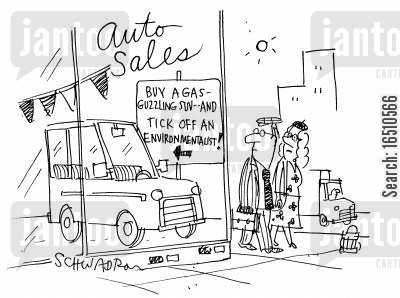 sport ute cartoon humor: 'Buy a gas-guzzling SUV and tick off an environmentalist!'