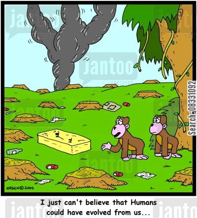 homo sapians cartoon humor: 'I just can't believe that Humans could have evolved from us...'