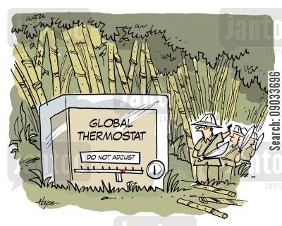 thermostat cartoon humor: Global Thermostat - Do Not Adjust.