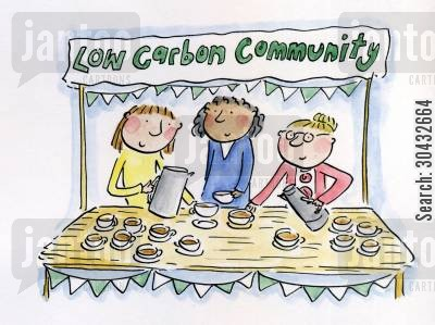 famers cartoon humor: Low carbon community.