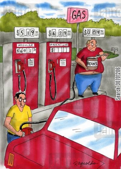 reusable fuels cartoon humor: Gas station - fart power.