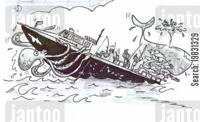 fishing boat cartoon humor: Overfishing.