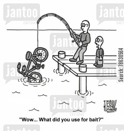 lures cartoon humor: 'Wow... What did you use for bait?' (father and son fishing)