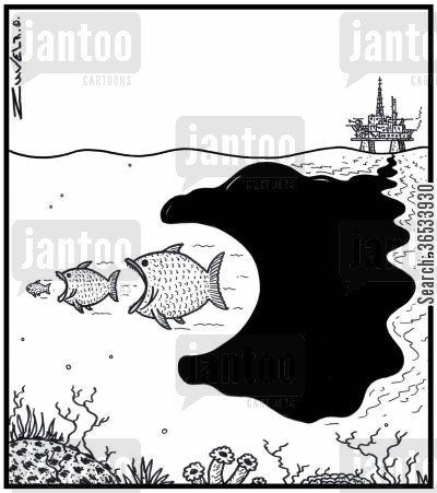 spillage cartoon humor: The Fish Food Chain about to be taken over by a large spillage of Oil leaking from an Ocean Oil rig.