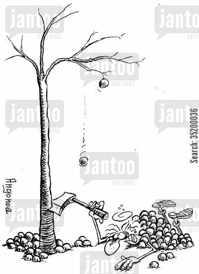 de-forestation cartoon humor: Tree fighting back