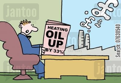 heating oils cartoon humor: Headline reads - Heating Oil Up by 33 - factory blowing out pound signs in smoke.
