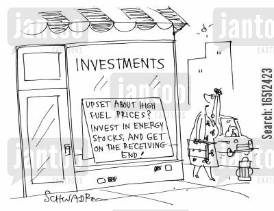 energy stock cartoon humor: Investments - Upset about high fuel prices? Invest in energy stocks, and get on the receiving end!
