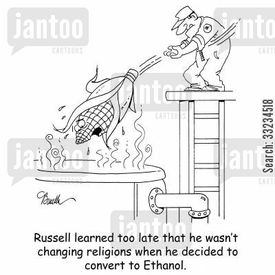 religious convert cartoon humor: Russell learned too late that he wasn't changing religions when he decided to convert to Ethanol.