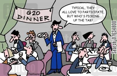 environmental issues cartoon humor: Typical, they all love to participate, but who's picking up the tab?