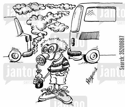 gas mask cartoon humor: City Pollution