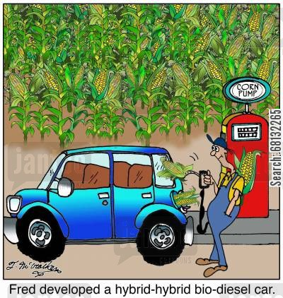 energy crisis cartoon humor: Fred developed a hybrid-hybrid bio-diesel car.