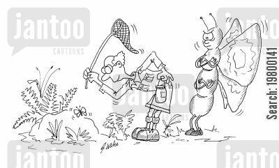 payback cartoon humor: Butterfly catcher about to get in to trouble with a giant butterfly