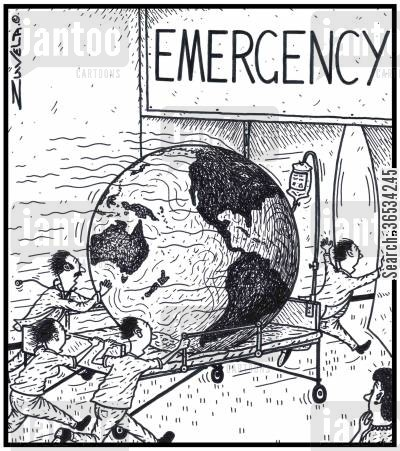 casualty cartoon humor:  A seriously ill Planet Earth being rushed into a Hospital's Emergency room