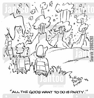 super volcano cartoon humor: 'All the Gods want to do is party.'