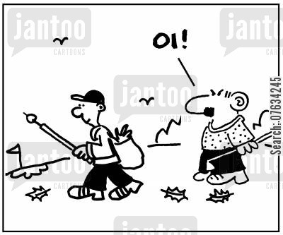 litter pickers cartoon humor: Litter Picker on Golf Course.