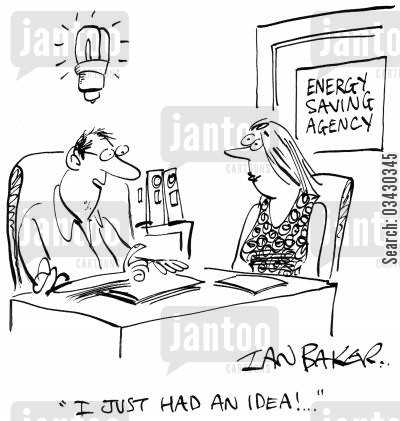 environmental company cartoon humor: 'I just had an idea!...'