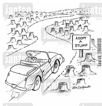 cut down cartoon humor: Adopt a stump.