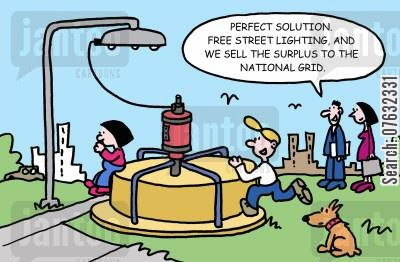 power cartoon humor: Perfect solution. Free street lighting, and we sell the surplus to the national grid.
