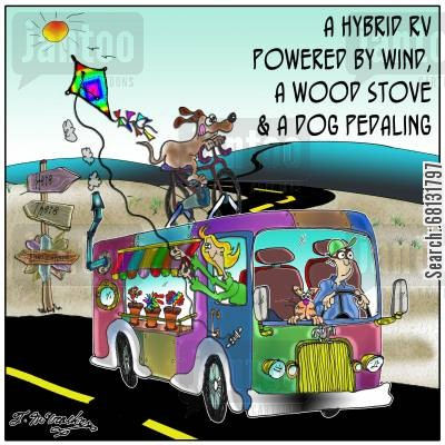 green power cartoon humor: A Hybrid RV Powered by Wind, A Wood Stove & A Dog Pedaling.