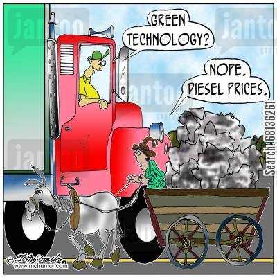 green technology cartoon humor:  'Green technology?'