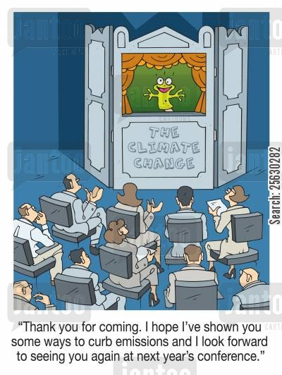 emissions cartoon humor: I hope I've shown you some ways to curb emissions and I look forward to seeing you again at next year' s conference
