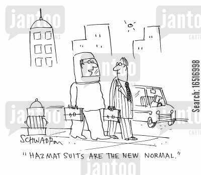 radiation poisoning cartoon humor: 'Hazmat suits are the new normal.'