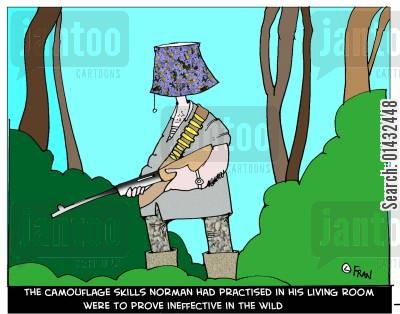 norman cartoon humor: The camouflage skills Norman had practised in the living room were to prove ineffective in the wild.