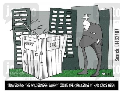 norman cartoon humor: Traversing the wilderness wasn't quite the challenge it had once been.
