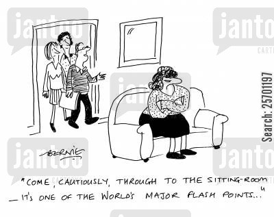 short temper cartoon humor: 'Come, cautiously, through to the sitting room - it's one of the world's major flash points...'