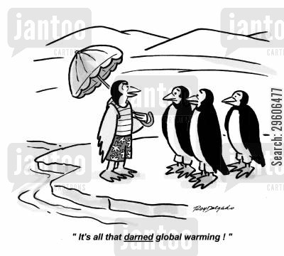 carbon footprints cartoon humor: 'It's all that darned global warming!'