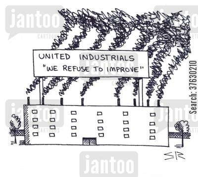 carbon footprints cartoon humor: United Industrials - We Refuse to Improve,