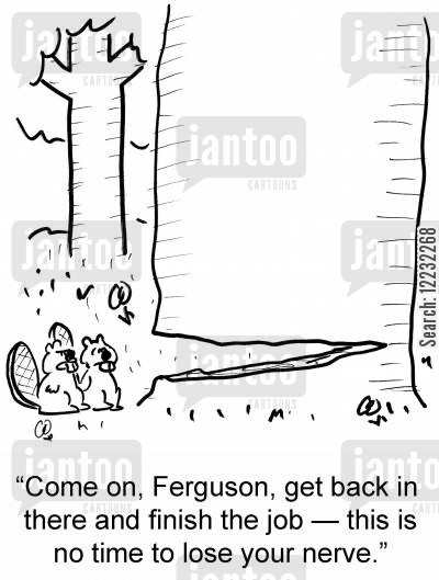 lost nerve cartoon humor: 'Come on, Ferguson, get back in there and finish the job — this is no time to lose your nerve.'