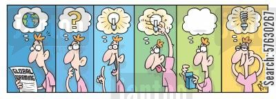 switches cartoon humor: Energy saving 'idea' light bulb.