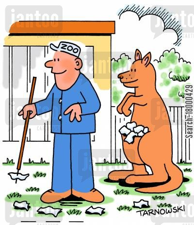 kangaroo pouch cartoon humor: Kangaroo helping pick up litter.