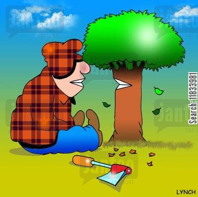 grins cartoon humor: Lumberjack and tree share a smile.