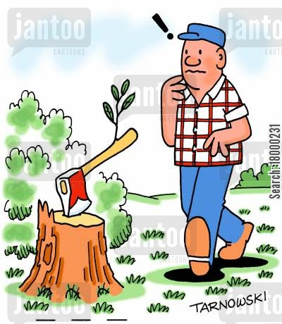 fire wood cartoon humor: Axe in a tree trunk sprouting leaves.