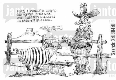 gm foods cartoon humor: Floyd, a pioneer in genetic engineering, often spent lunchtimes with Melissa on his spiral-cut ham farm.